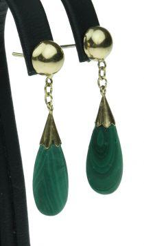 14 karaats gouden oorbellen met Malachiet pampel