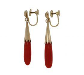 14 karaats gouden Vintage oorbellen met bloedkoraal pegels