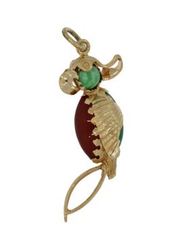 18 karaats gouden hanger met exotische papegaai Carneool en Jade edelstenen