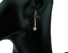 14 karaats gouden Vintage oorschroeven met zoetwaterparel
