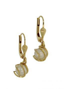 14 karaats gouden design oorbellen zoetwaterparel