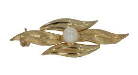 14 karaats gouden bloembroche parel