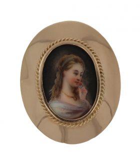 Ovale 14 karaats gouden porselein portret hanger broche