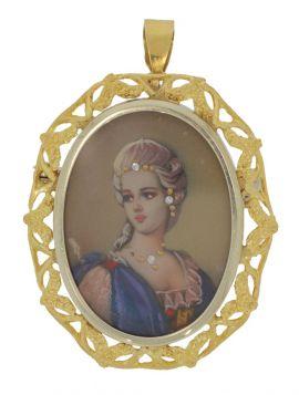 18 karaats gouden portret hanger dame met diamanten