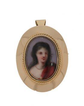 Antieke 14 karaats gouden porseleinen portret hanger  c.q. broche