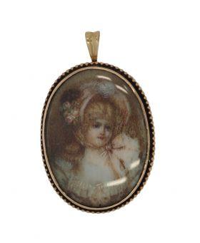Antieke 14 karaats gouden portret hanger meisje in parelrand