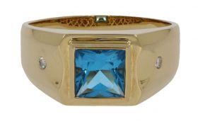 18 karaats gouden herenring met diamant en Topaas