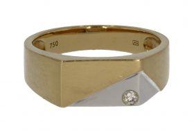 18 karaats bicolor gouden herenring met diamant