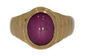 18 karaats gouden Vintage heren ring met robijnkleurige edelsteen