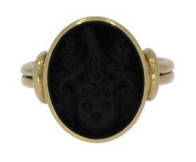 14 karaats gouden Vintage zegelring met wapen in onyx