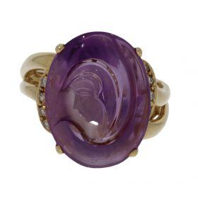 14 karaats gouden ring met Amethist portret dame en 8 diamanten