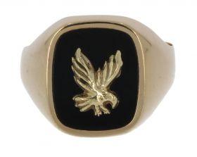 14 karaats gouden zegelring onyx met adelaar