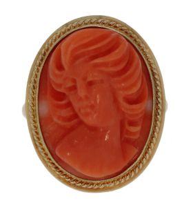14 karaats gouden bloedkoraal camee ring portret dame