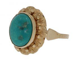 Klassieke 14 karaats gouden Retro ring turkoois cabochon