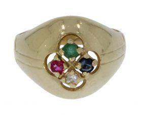 14 karaats gouden retro ring diamant, smaragd, robijn en saffier