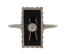 14 karaats gouden Art Deco ring onyx en diamant