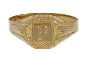 18 karaats gouden zegelring met letter P