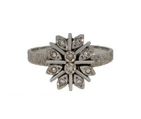 14 karaats witgouden bewerkte dames ring 10 diamanten