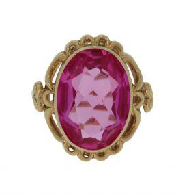 14 karaats gouden Retro ring met roze Spinel