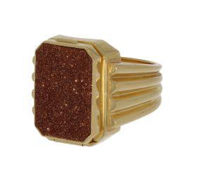 18 karaats gouden heren zegel 'gif' ring met goudsteen