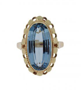 14 karaats gouden damesring Retro ring blauwe Topaas