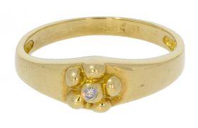 Schattig 14 karaats gouden kinder ringetje met zirkonia