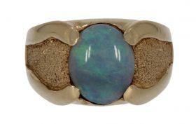 Bewerkte 14 karaats gouden ring met opaal - unisex -