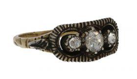 Victoriaanse 14 karaats gouden dames ring met roosdiamanten