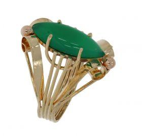 Ajourbewerkte 14 karaats gouden Vintage ring met Chalcedoon