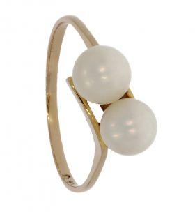 14 karaats gouden fantasie ring met 2 parels