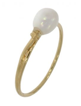 14 karaats gouden design damesring met zoetwaterparel