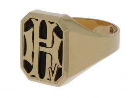 14 karaats gouden heren zegelring met onyx en monogram