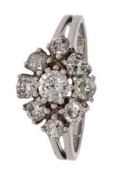 14 karaats witgouden ring 9 diamanten 1.05ct