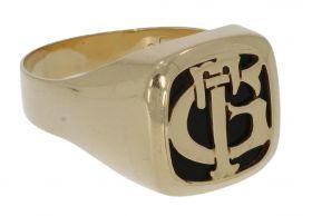 14 karaats gouden heren Vintage zegelring onyx en monogram