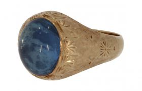 14 karaats gouden Vintage ring met blauwe steragaat