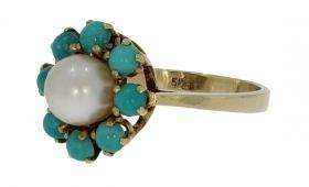 14 karaats gouden rozet ring met parel en turkoois