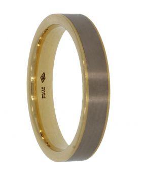 18 karaats bicolor gouden heren bandring met titanium
