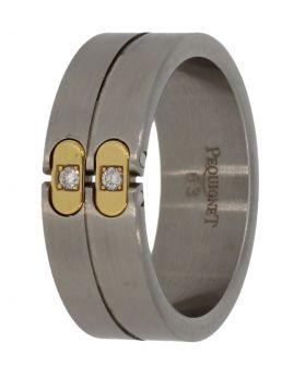 Pequignet edelstalen ring met 18 karaats goud en diamanten