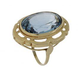 Robuuste 14 karaats gouden Vintage ring blauwe Topaas