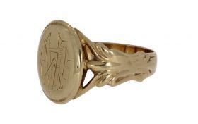 Fraai antieke 14 karaats gouden zegelring monogram