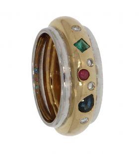 18 karaats bicolor gouden ring smaragd saffier diamant robijn
