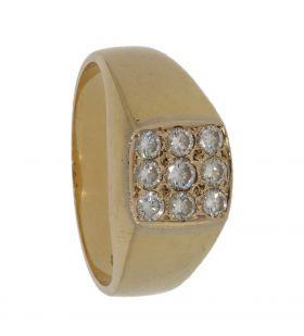 18 karaats gouden unisex ring met 9 diamanten 0,45ct