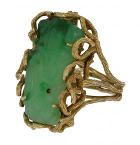 Robuuste 14 karaats gouden design ring met Jade