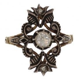 14 karaats gouden en zilveren Victoriaanse diamant ring