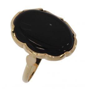 Klassieke 14 karaats gouden Retro ring met onyx