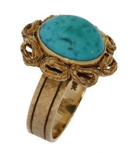 Unieke 14 karaats gouden Vintage dames ring Turkoois