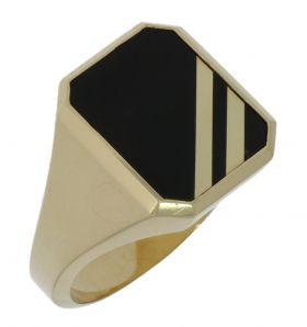 Massieve 14 karaats gouden heren zegelring onyx