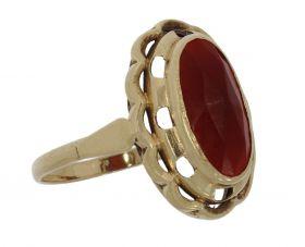 Klassieke 14 karaats gouden Retro ring met carneool
