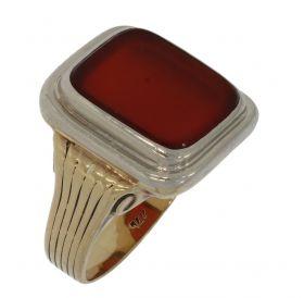 14 karaats gouden bicolor heren ring met Carneool