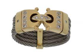 18 karaats gouden design ring met diamanten en titanium